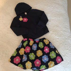 Gymboree navy zip hoodie/matching floral skirt set